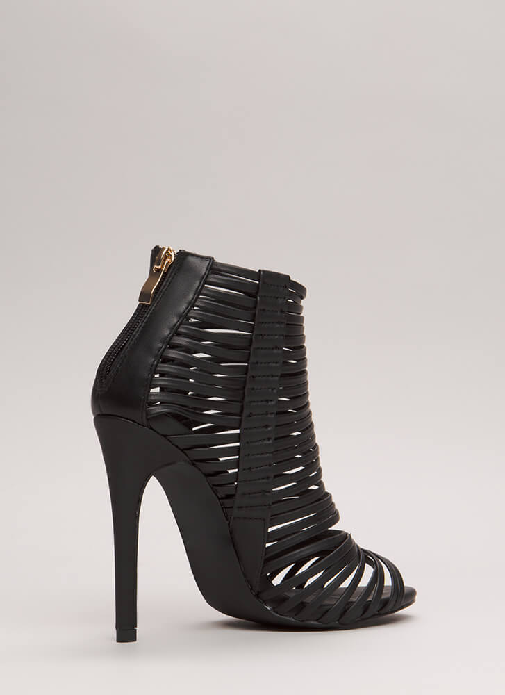 Stacked Up Strappy Caged Heels BLACK