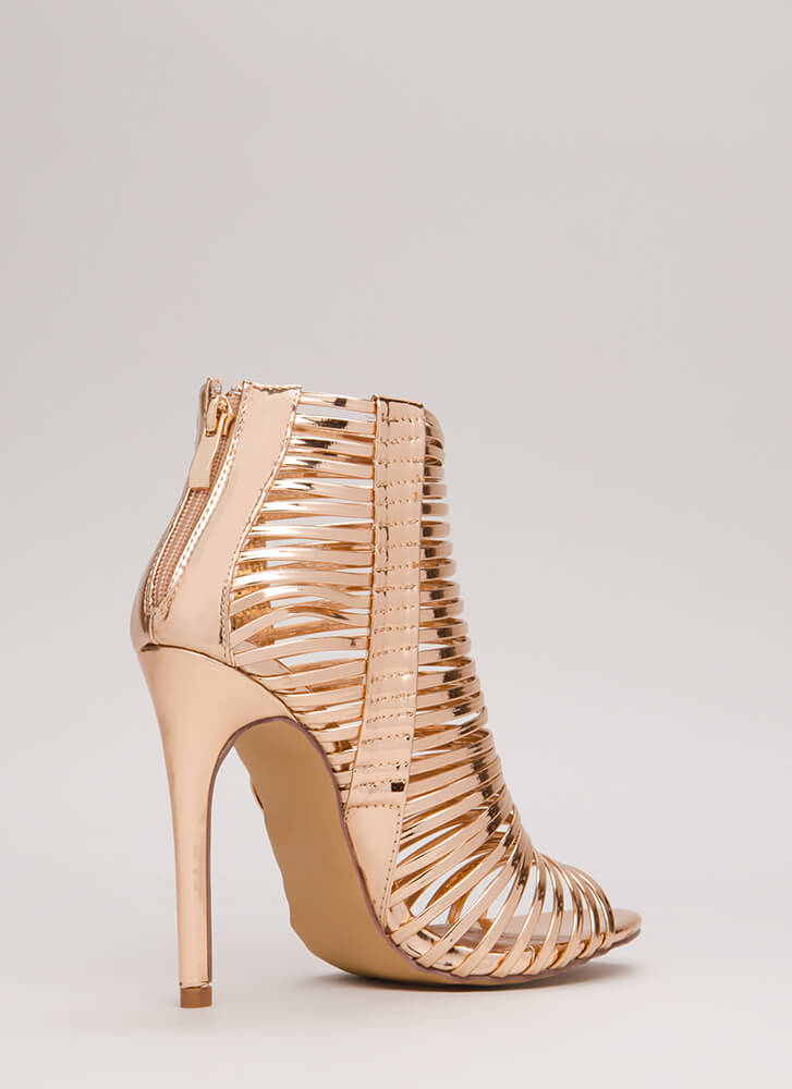 Stacked Up Metallic Strappy Caged Heels ROSEGOLD