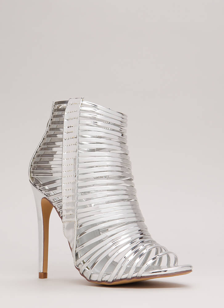 Stacked Up Metallic Strappy Caged Heels SILVER
