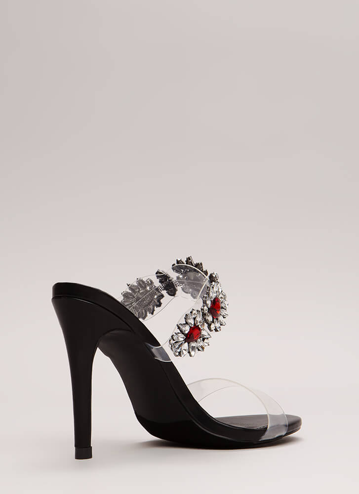 Clear As Day Jeweled Flower Heels BLACK