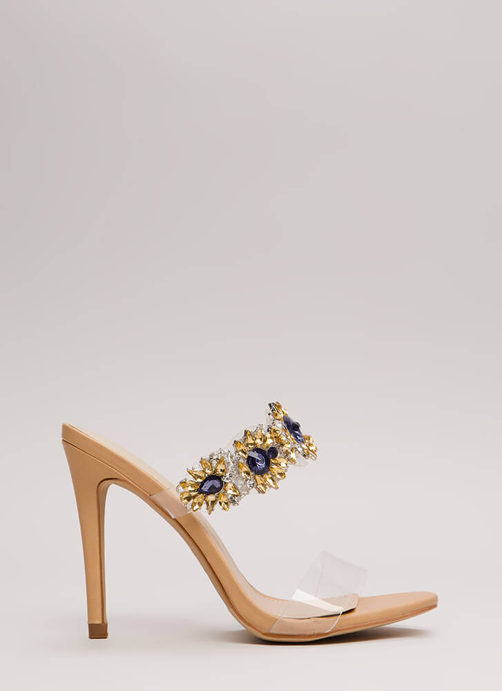 Clear As Day Jeweled Flower Heels NUDE