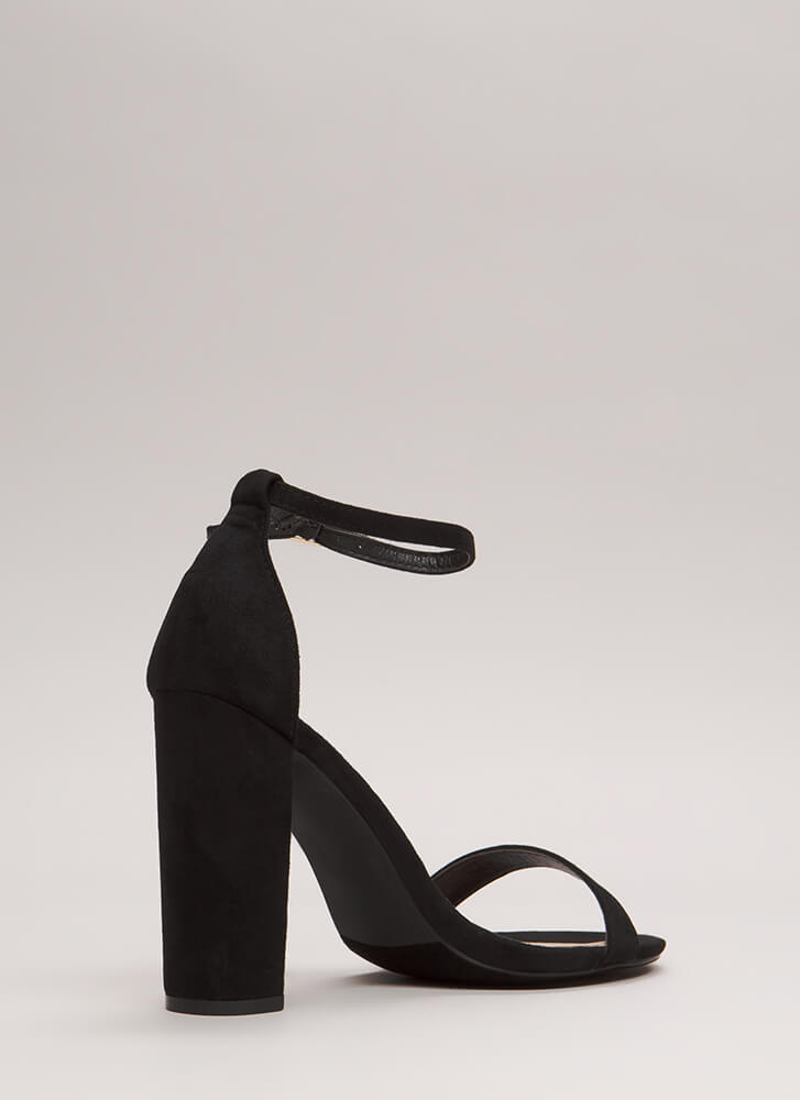 Must-Have Chunky Ankle Strap Heels BLACK