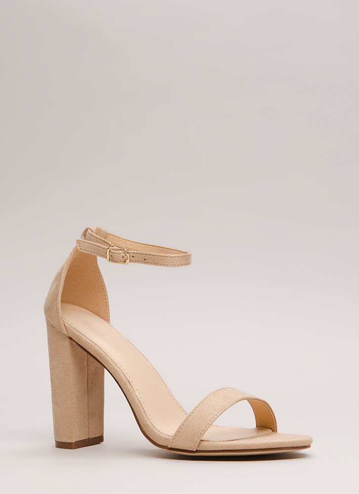 Must-Have Chunky Ankle Strap Heels NUDE