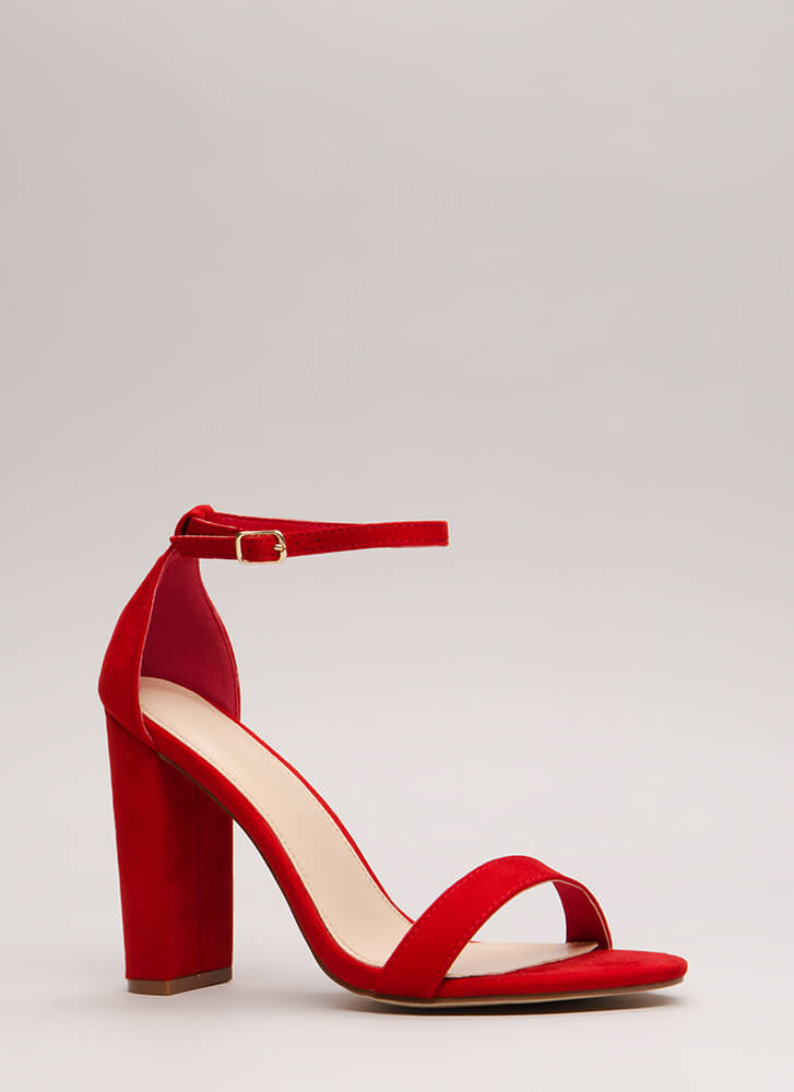 Must-Have Chunky Ankle Strap Heels RED