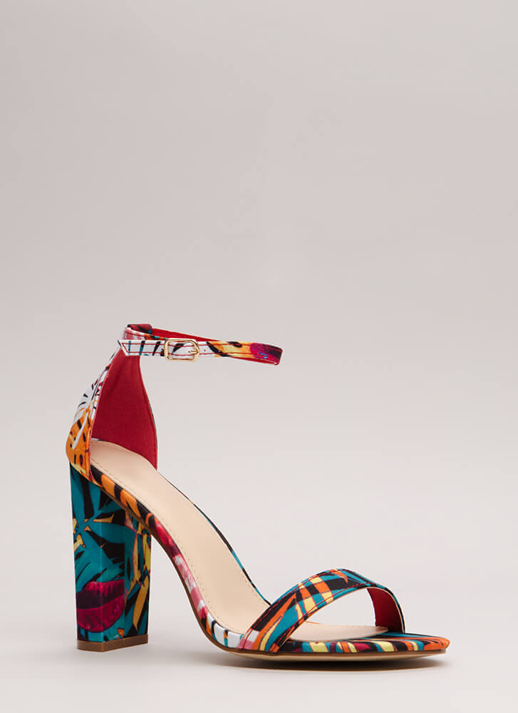 Must-Have Chunky Tropical Print Heels MULTI