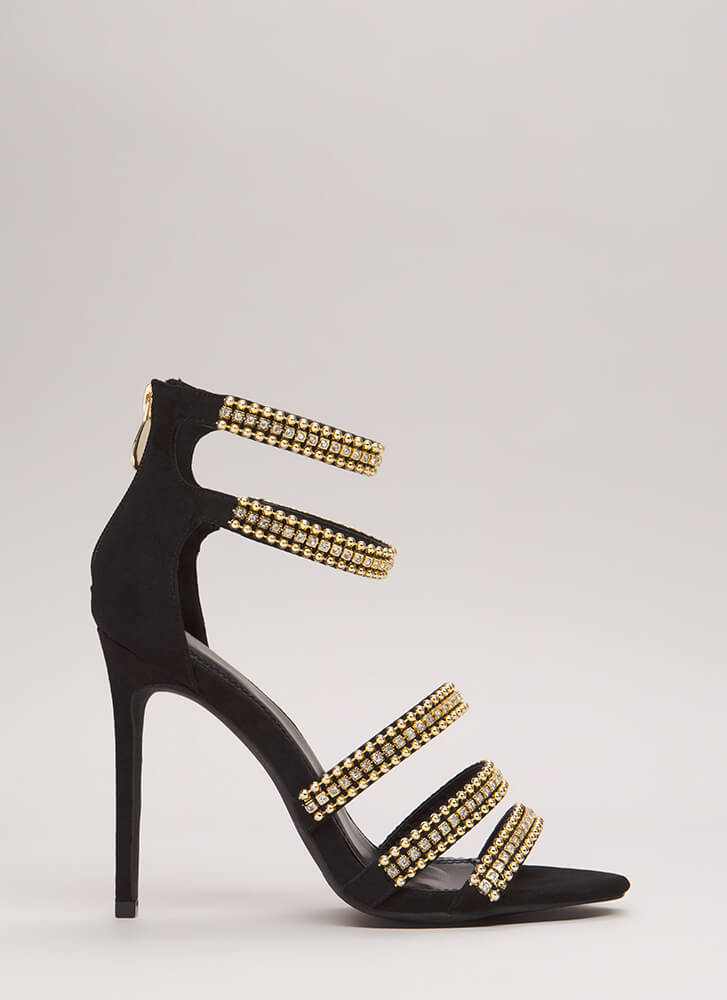 Studded With Jewels Strappy Heels BLACK (Final Sale)
