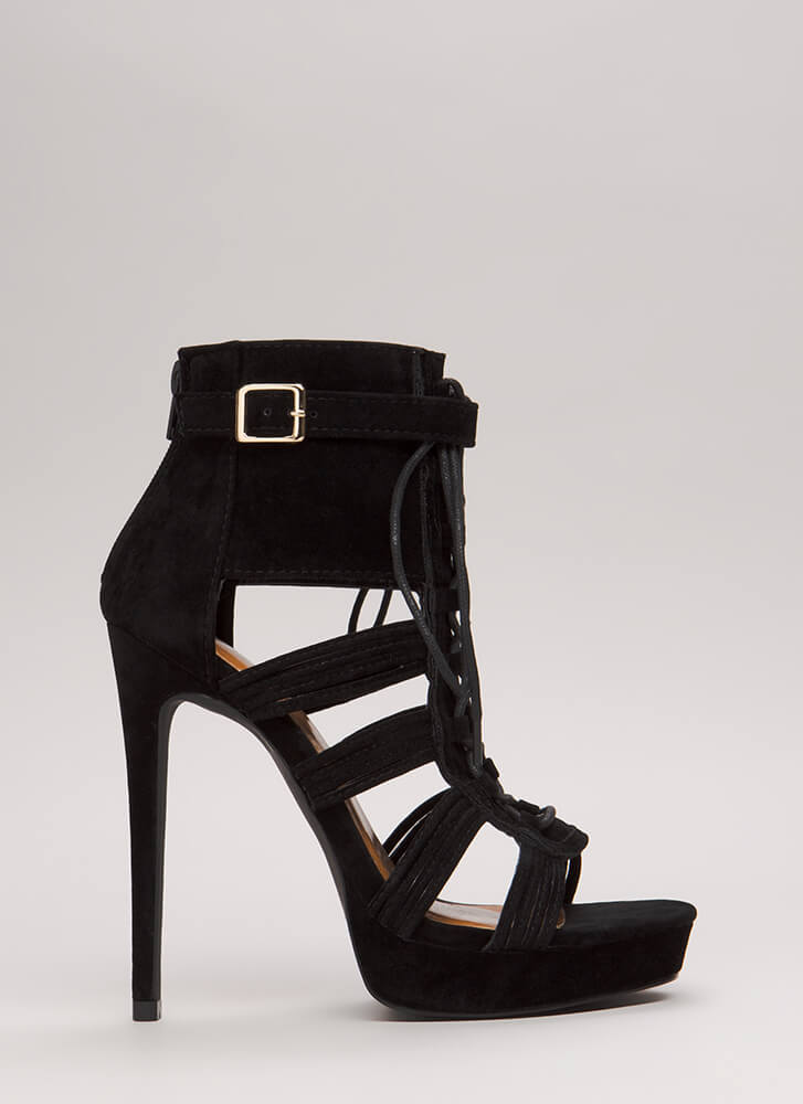 Strap Me In Lace-Up Velvet Platforms BLACK
