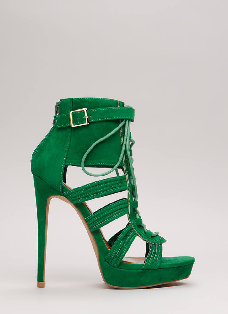 Strap Me In Lace-Up Velvet Platforms JADE