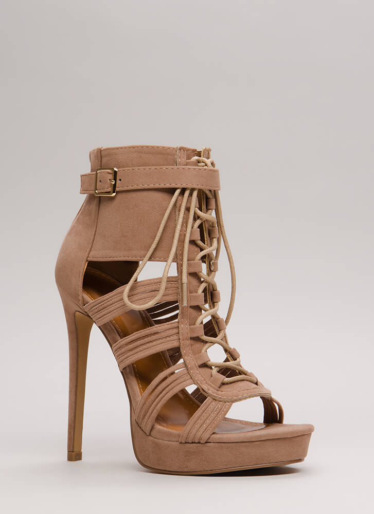 Strap Me In Lace-Up Velvet Platforms TAUPE