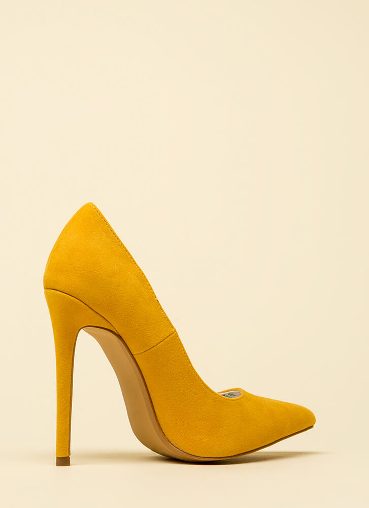 Classic Silhouette Pointy Stiletto Pumps YELLOW