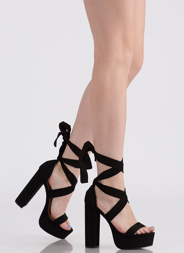 Tie It All Together Chunky Platforms BLACK
