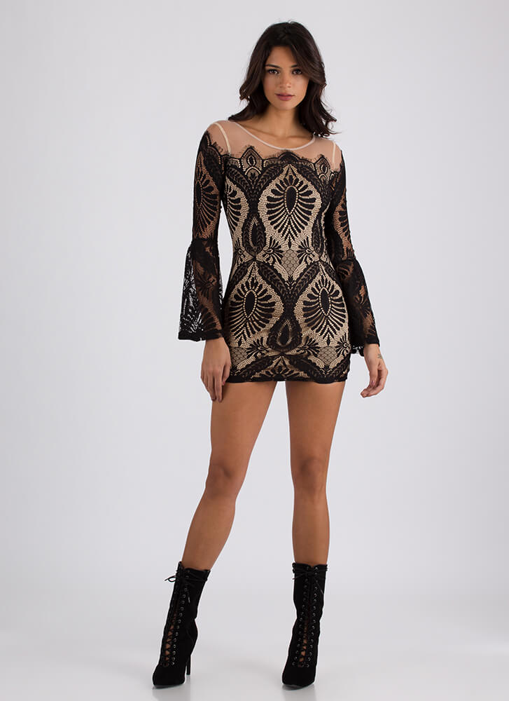 Lady In Lace Bell Sleeve Minidress BLACK