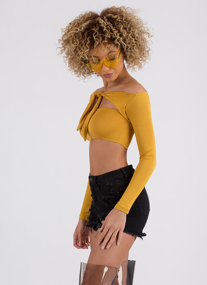 Count The Ways Multi-Wear Crop Top MUSTARD