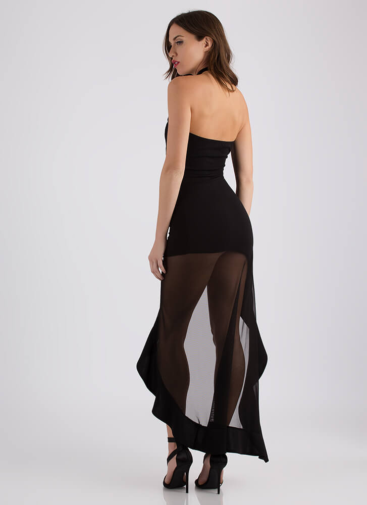 Hot Mesh Strapless Asymmetrical Maxi BLACK