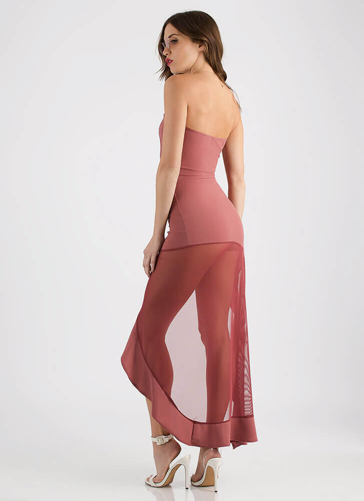 Hot Mesh Strapless Asymmetrical Maxi DKMAUVE (You Saved $21)