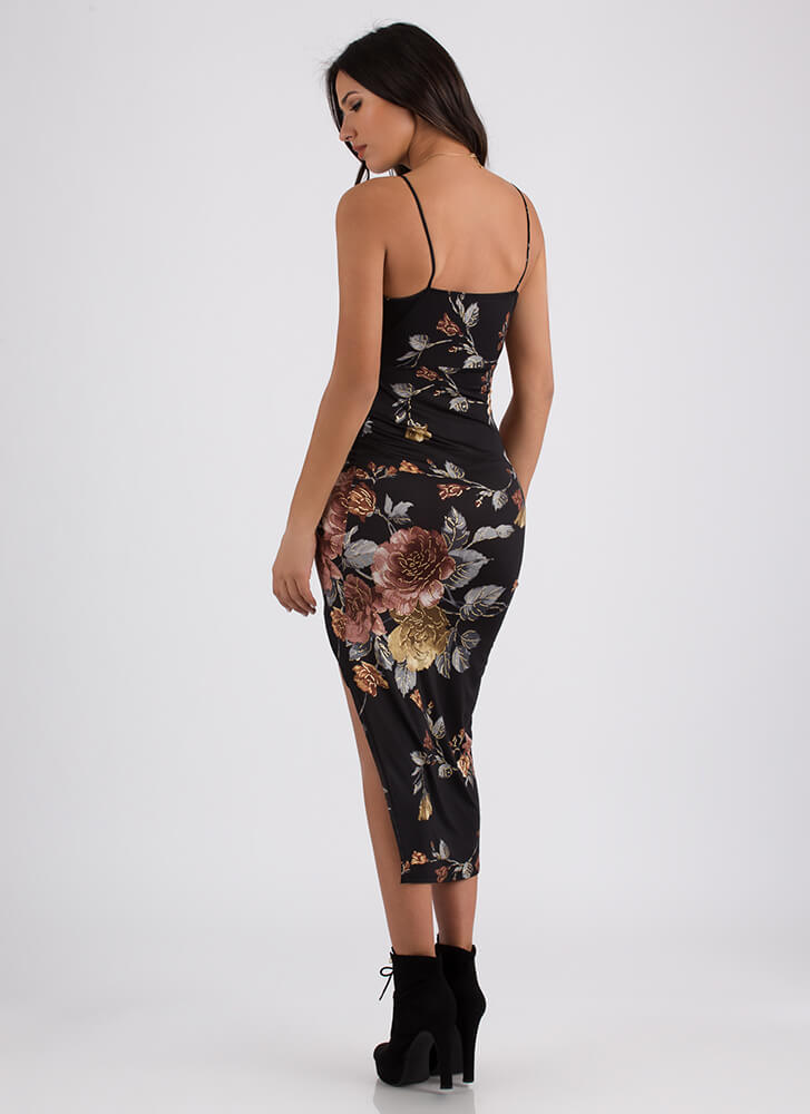 Twist Of Fate Asymmetrical Floral Dress BLACK (Final Sale)