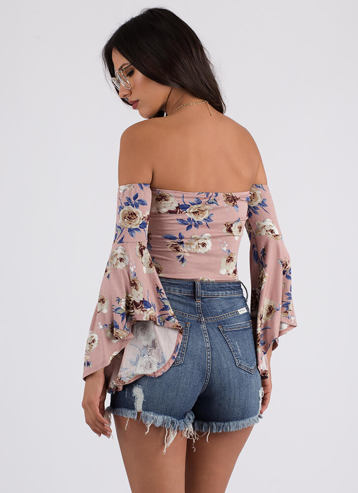 Get Flowers Off-Shoulder Thong Bodysuit MAUVE