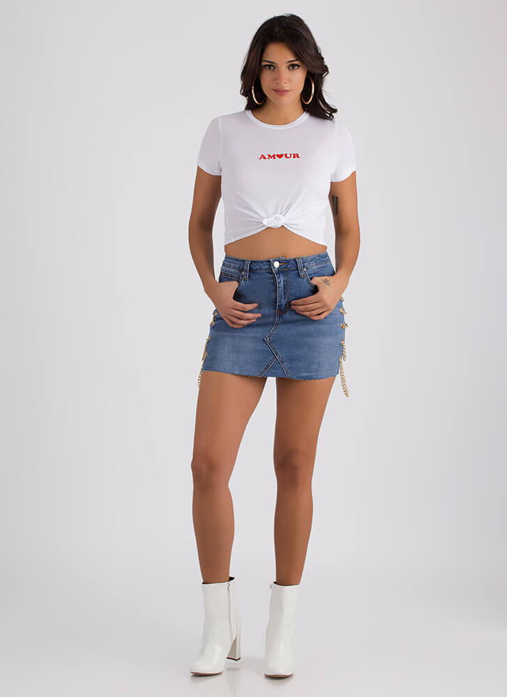 Mon Amour Knotted Graphic Crop Top WHITE