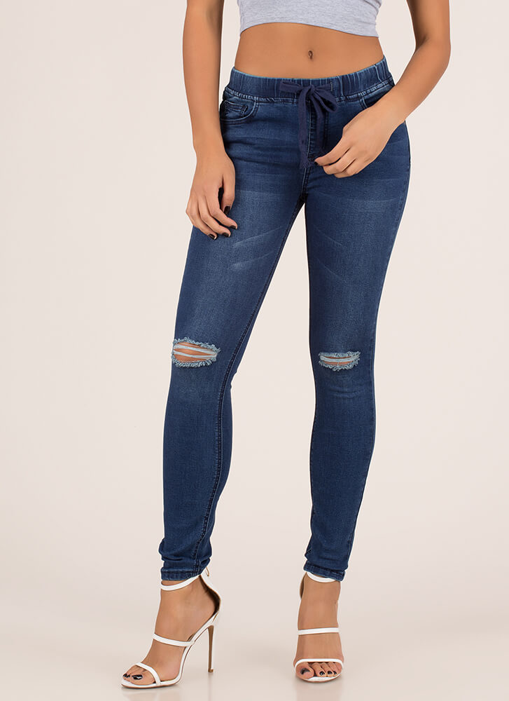 Luck Of The Drawstring Skinny Jeans DKBLUE