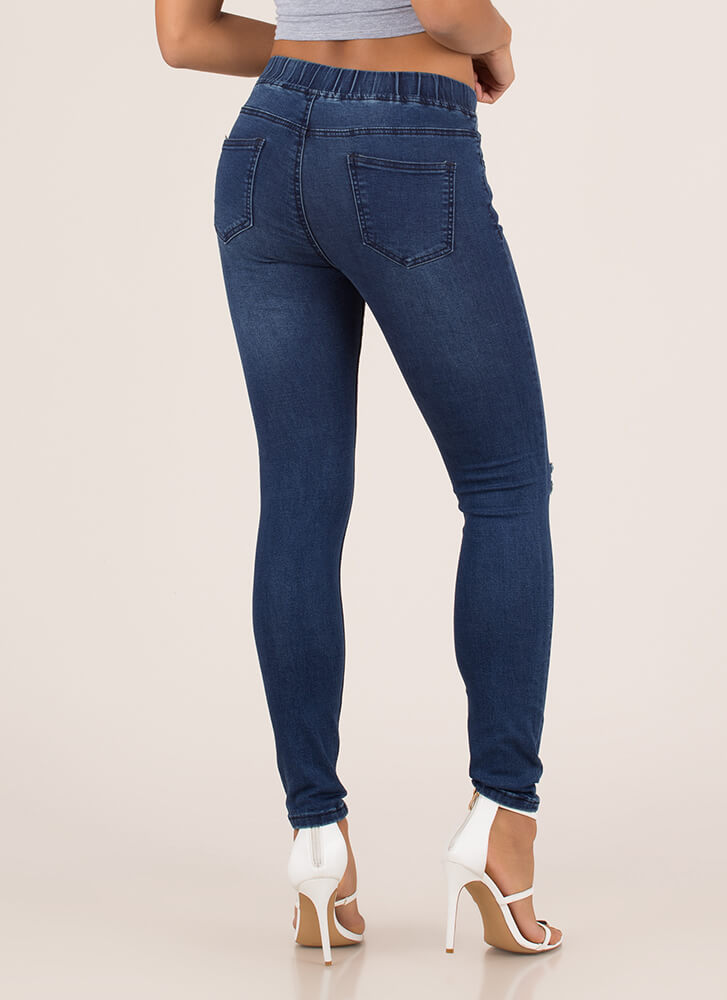 Luck Of The Drawstring Skinny Jeans DKBLUE (Final Sale)