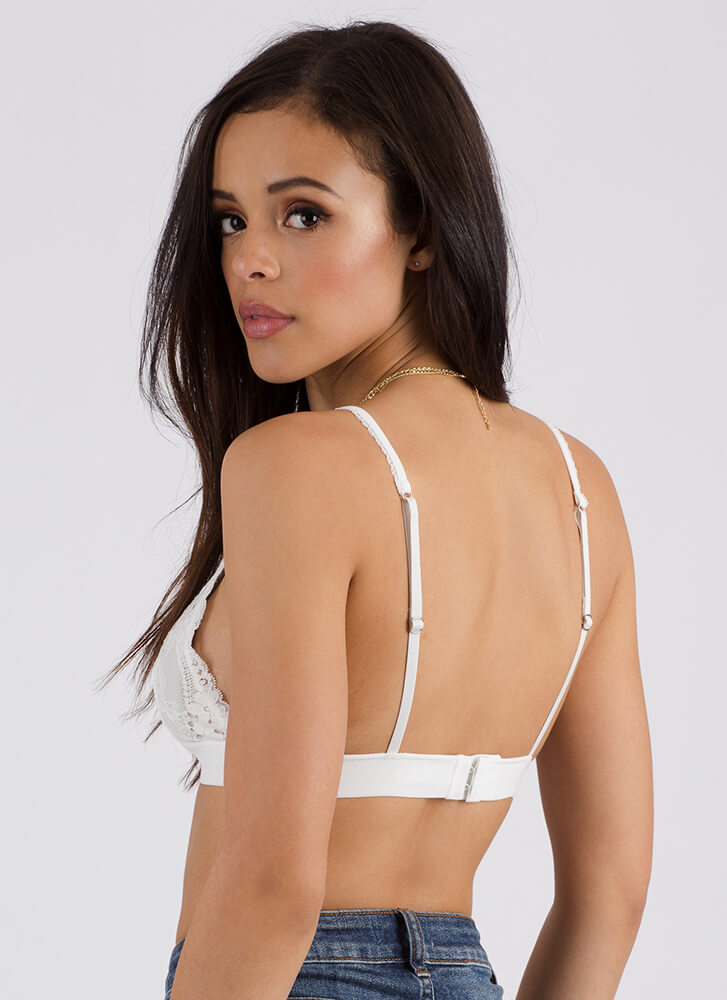 Intimate Knowledge Floral Lace Bralette WHITE