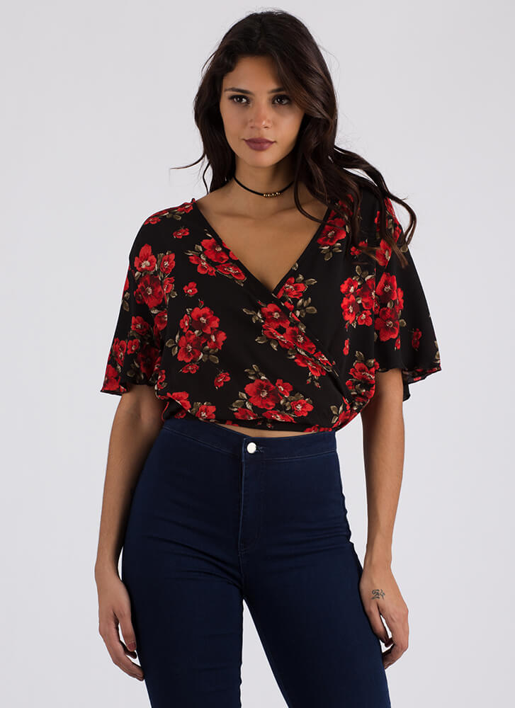Floral Arrangement Flowy Surplice Top BLACKRED