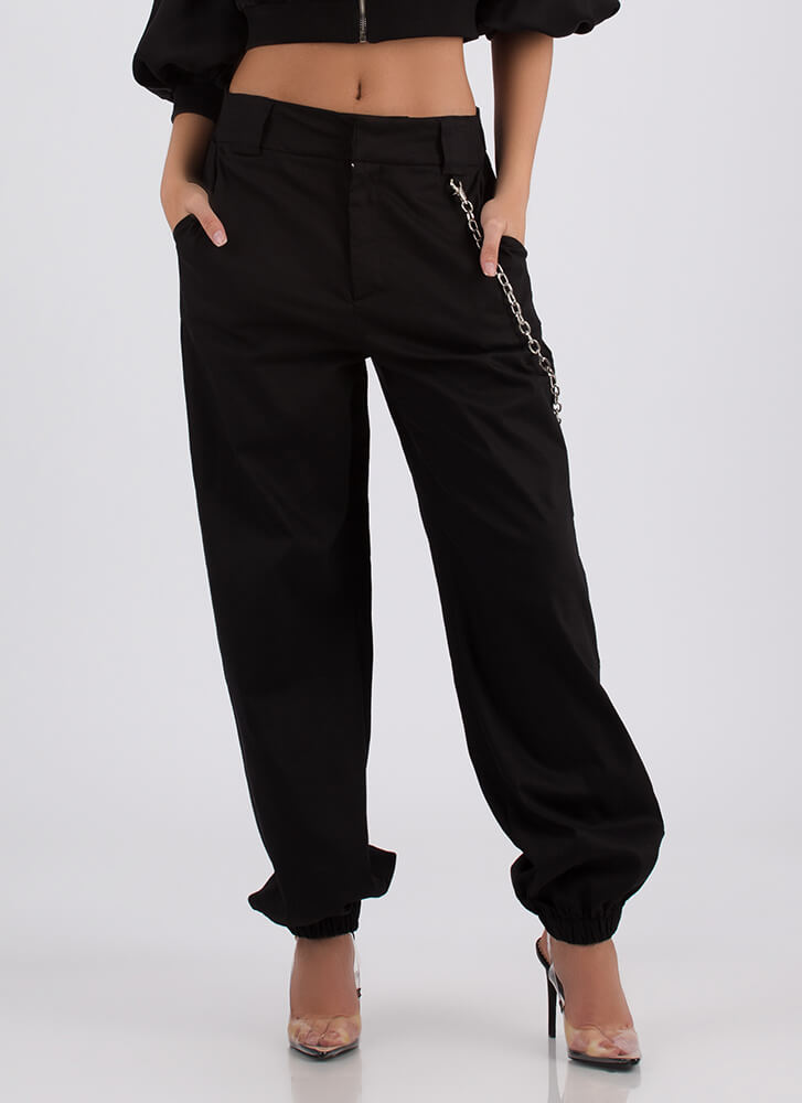 New Rules Baggy Chained Khaki Pants BLACK