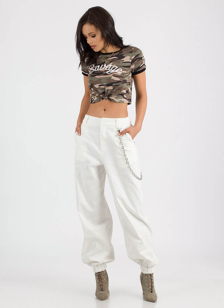 New Rules Baggy Chained Khaki Pants IVORY