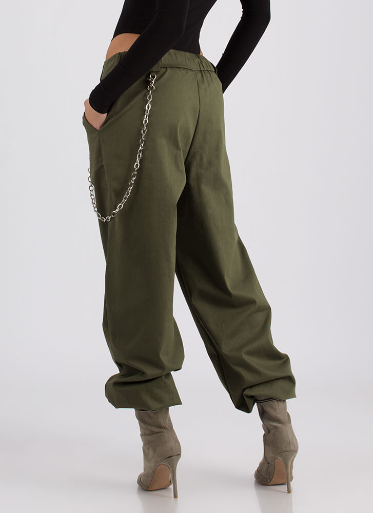 New Rules Baggy Chained Khaki Pants OLIVE