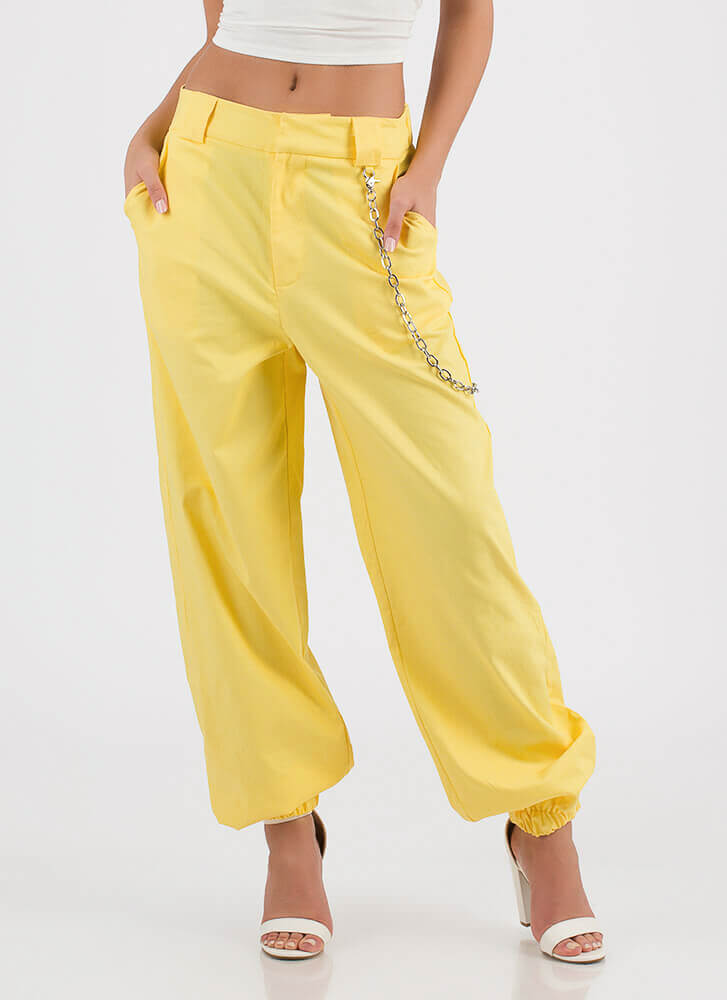 New Rules Baggy Chained Khaki Pants YELLOW