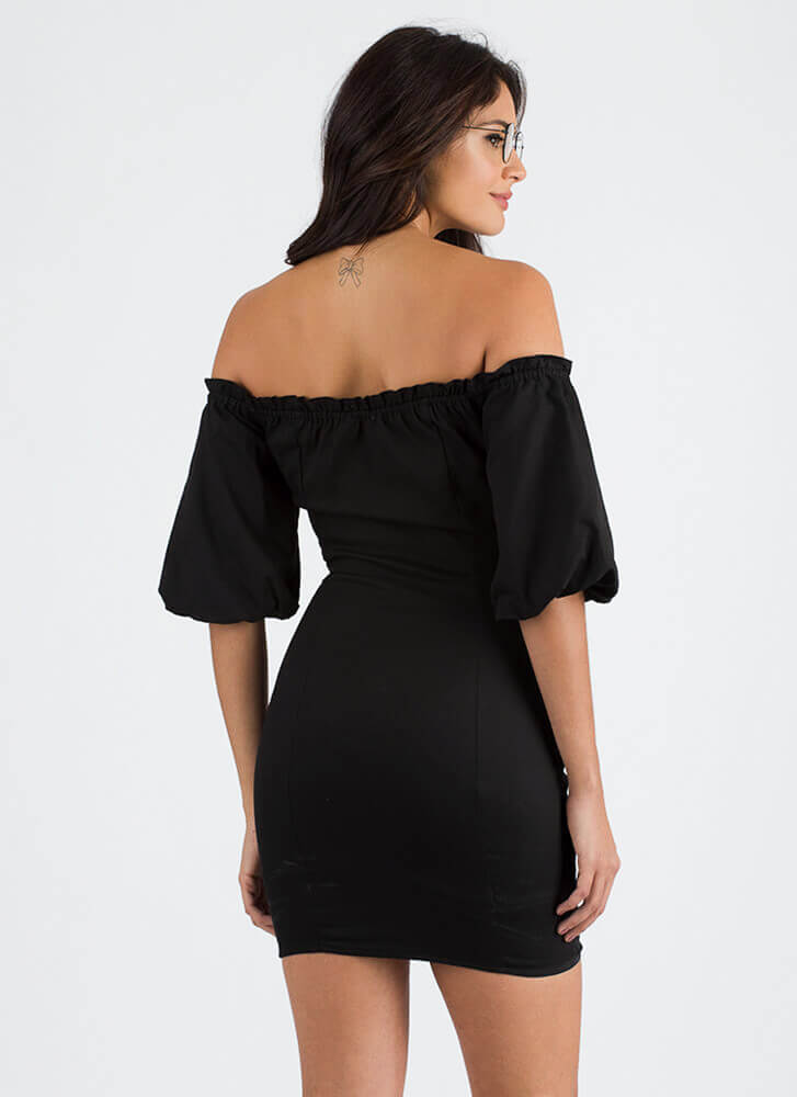 Magic Spell Laced Off-Shoulder Dress BLACK (You Saved $24)