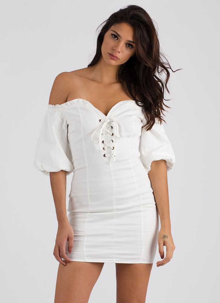 Magic Spell Laced Off-Shoulder Dress IVORY