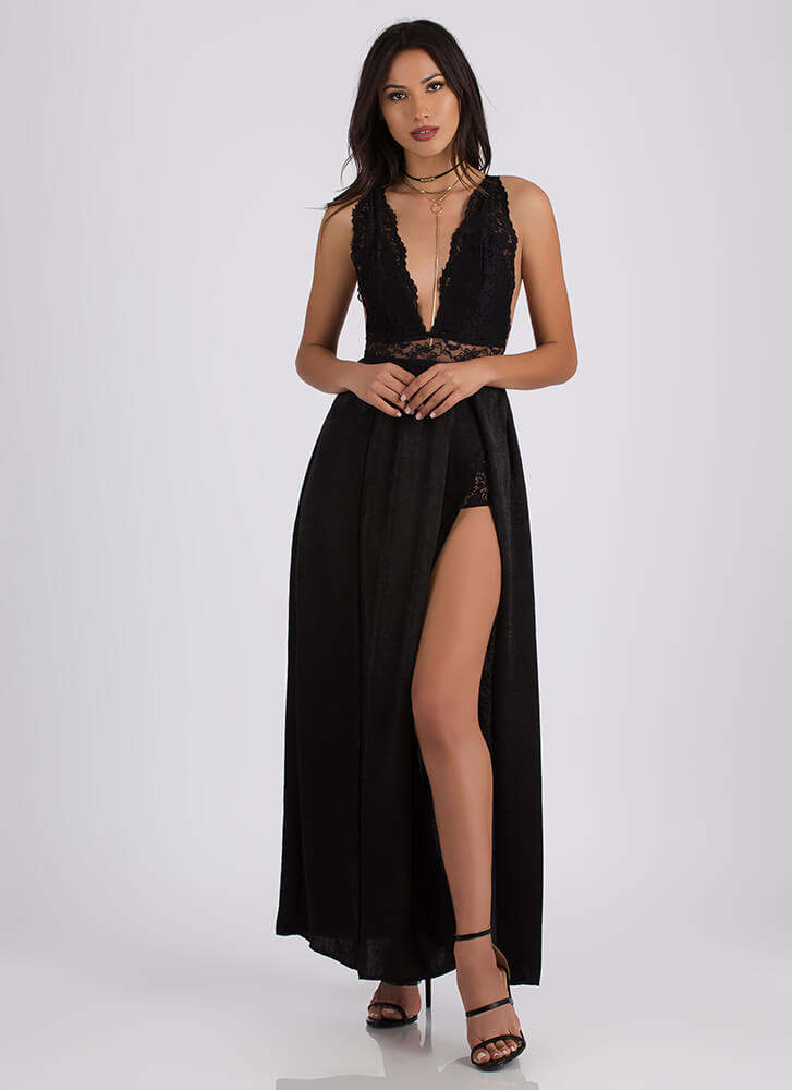 Underneath It All Plunging Lace Maxi BLACK
