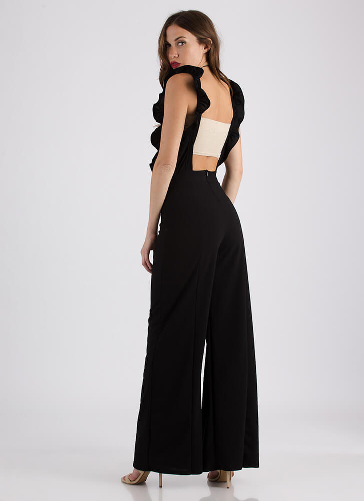 What A Frill Ruffle Strap Jumpsuit BLACK