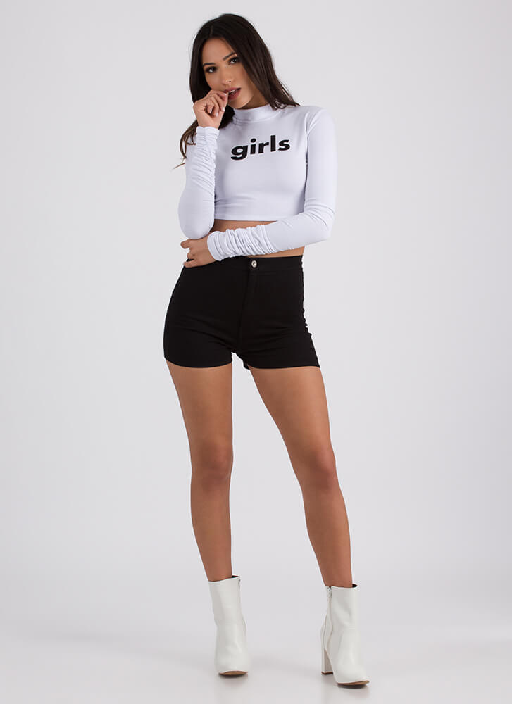 Girls Ruched Sleeve Graphic Crop Top WHITE