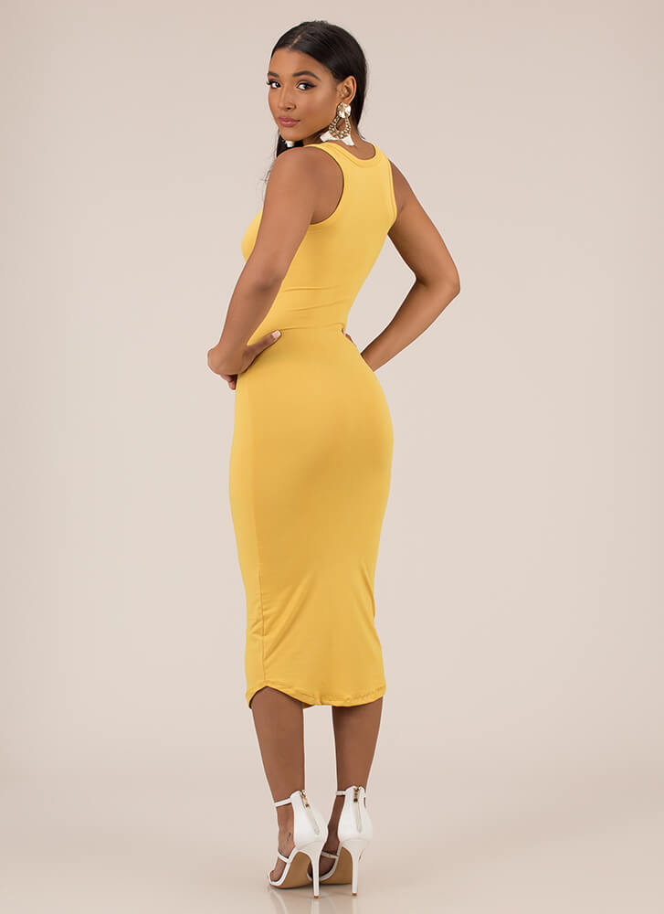 Up A Notch Plunging Midi Dress MUSTARD