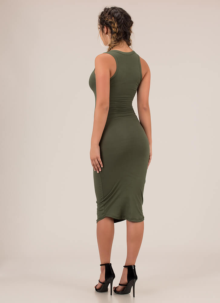 Up A Notch Plunging Midi Dress OLIVE