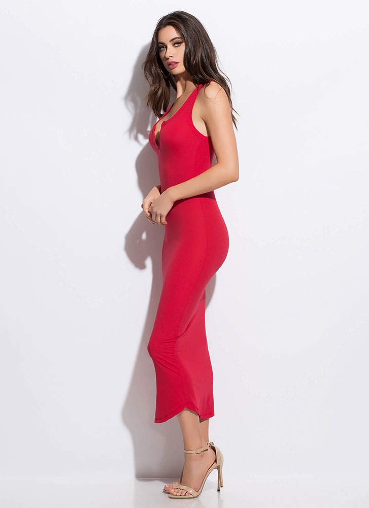 Up A Notch Plunging Midi Dress RED