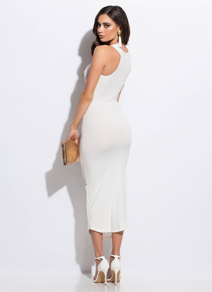 Up A Notch Plunging Midi Dress WHITE