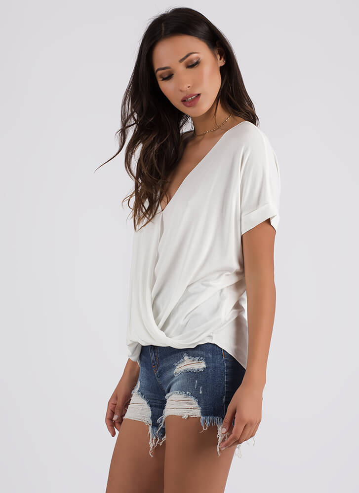 Effortless Chic Draped Surplice Blouse OFFWHITE