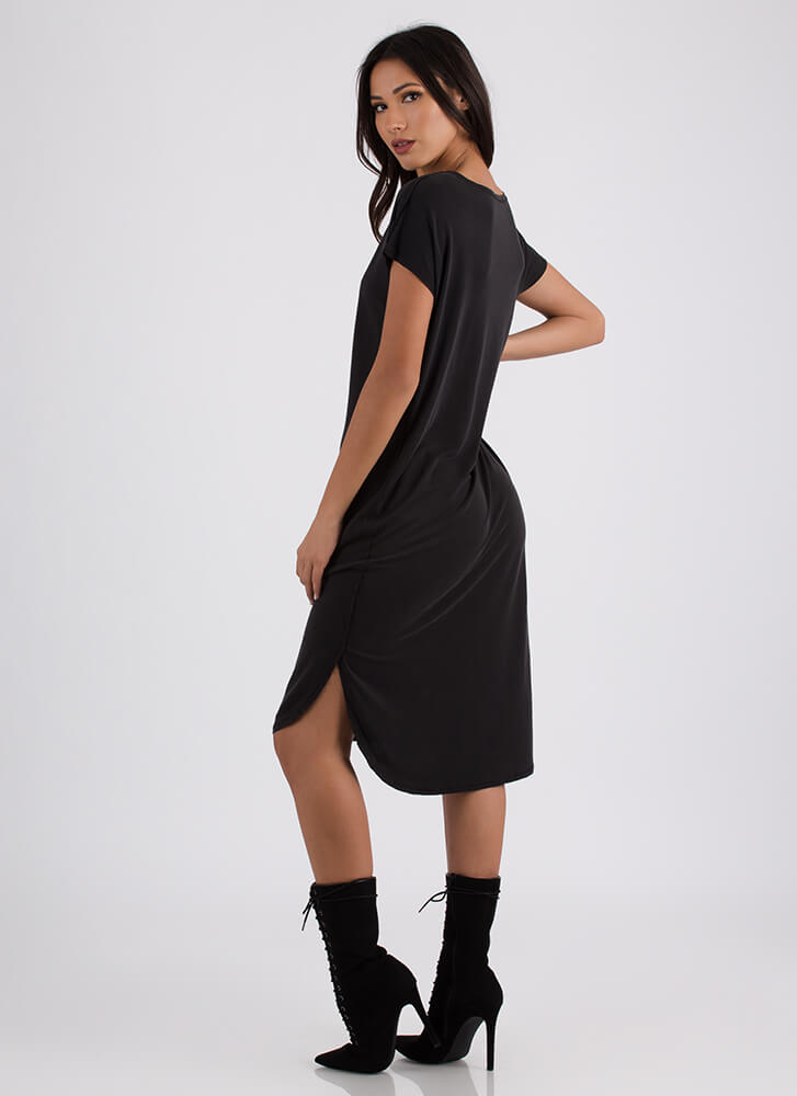 Casual Everyday High-Low Shirt Dress BLACK