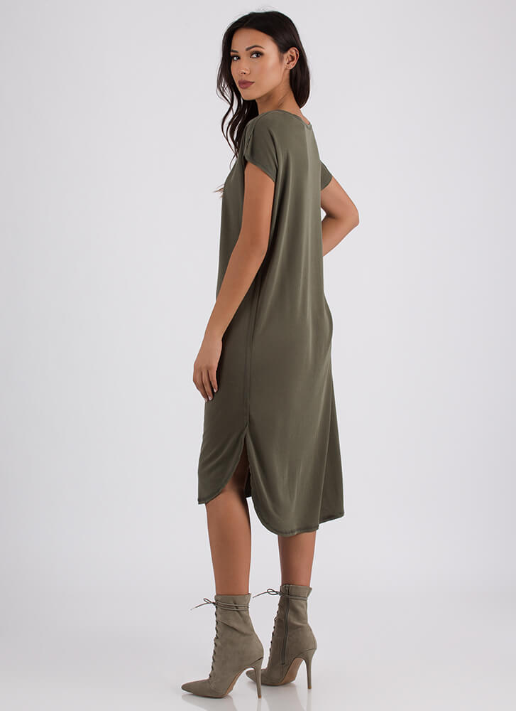 Casual Everyday High-Low Shirt Dress OLIVE