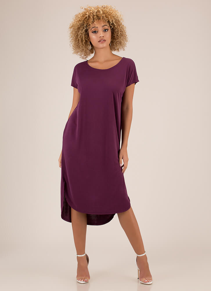 Casual Everyday High-Low Shirt Dress PURPLE