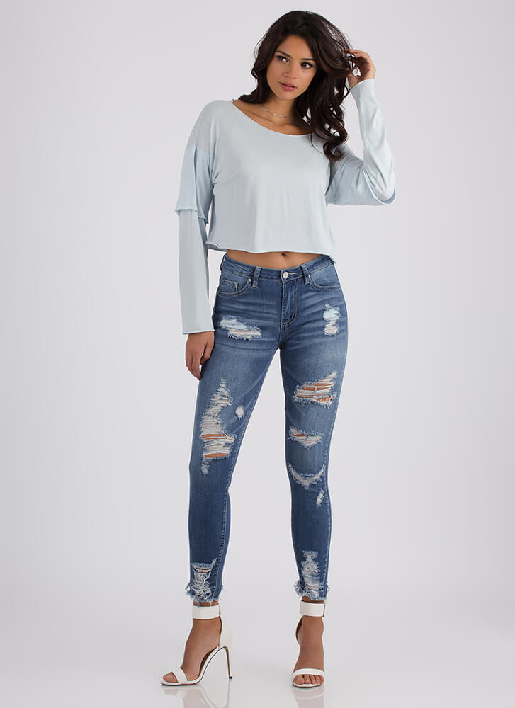 Casual Cool Layered Sleeve Crop Top BABYBLUE
