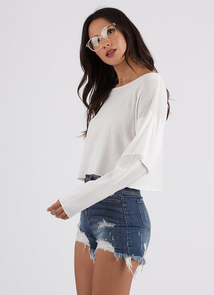 Casual Cool Layered Sleeve Crop Top OFFWHITE