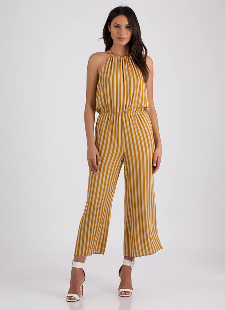 This Is Me Striped Halter Jumpsuit MUSTARD (Final Sale)
