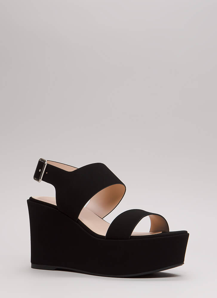 Wide Range Chunky Platform Wedges BLACK