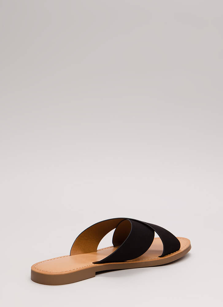 Gen X Vegan Suede Slide Sandals BLACK