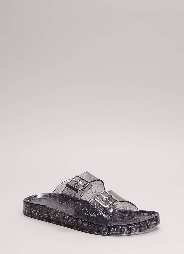 Go For The Glitter Jelly Slide Sandals SMOKE