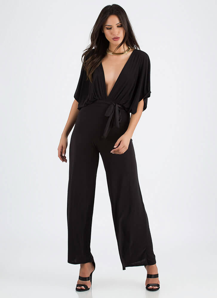 Oh My Goddess Plunging Palazzo Jumpsuit BLACK